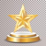 Gold podium star trans stock illustration