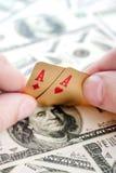 Gold poker cards Stock Photos