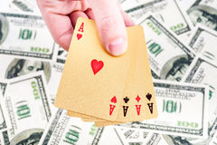 Gold poker cards Royalty Free Stock Photography
