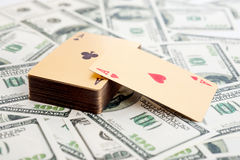 Gold poker cards Royalty Free Stock Images