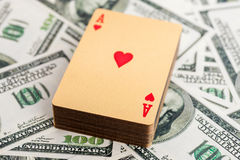 Gold poker cards Royalty Free Stock Photo