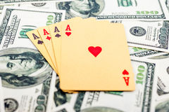 Gold poker cards Stock Photography