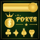 Gold poker items Royalty Free Stock Images