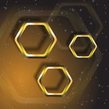 Gold polygons Stock Photos