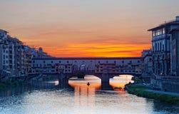 Gold (Ponte Vecchio) Bridge in Florence Stock Images