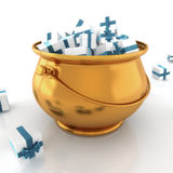 Gold pot. Full of presents with blue ribbons over a white background Royalty Free Stock Photos