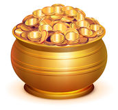 Gold Pot Full Of Gold Coins Stock Photography