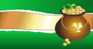Gold Pot on Torn Background Royalty Free Stock Images