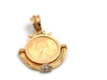 Gold pound applied in a brooch. Gold sterling pound applied in a brooch stock image