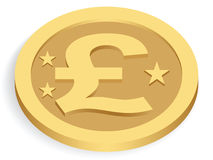 Gold pound coin Royalty Free Stock Photo