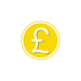 Gold Pound sterling coin flat icon, finance Royalty Free Stock Image