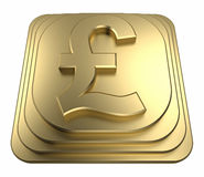 Gold pound symbol on a pedestal 3d rendering Royalty Free Stock Photo