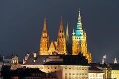 Gold Prague Castle at night, Czech Republic stock images