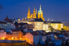 Gold Prague Castle at night, Czech Republic Royalty Free Stock Images