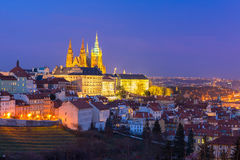 Gold Prague Castle at night, Czech Republic Royalty Free Stock Photo