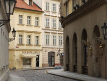 Gold Pralines. Praline Shop, Prague,  This candy shop was across from our hotel near the Powder Tower in Old Town Prague Stock Photos