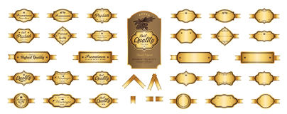 Gold premium luxury labels and blank labels vector design. Royalty Free Stock Images