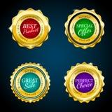 Gold premium sale badges set. Colorful design elements. Gold premium sale badges set of four. Colorful design elements stock illustration