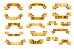 Gold premium sales vector banners set Stock Image