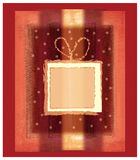 Gold present. Christmas present on red background vector illustration