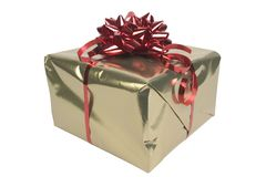 Gold present. With metallic red bow Stock Image