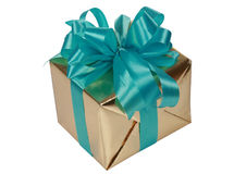 Gold present with blue ribbons Royalty Free Stock Photo