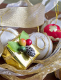 Gold present box Royalty Free Stock Photo