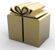 Gold Present box Royalty Free Stock Images