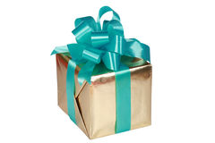 Gold present with green bow Royalty Free Stock Photos