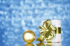 Gold present and ornament Stock Images