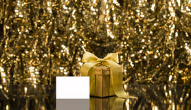 Gold present with place card Stock Photo
