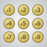 Gold Press Number Badges. Vector gold pressed number badges Royalty Free Stock Images