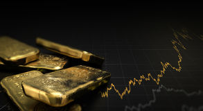 Gold Price, Commodities Investment. 3D illustration of gold ingots over black background with a chart. Financial concept, horizontal image Stock Images