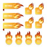 Gold price and sale icons with flames of fire. Set of gold price and sale icons with flames of fire in ribbon banners  round and square format with burning Stock Image