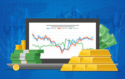 Gold price vector illustration in flat style. Stock chart on laptop screen. Royalty Free Stock Photo