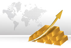 Gold prices increase illustration Royalty Free Stock Photography