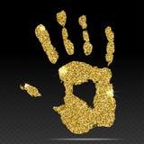 Gold print of human hand. Cute skin texture pattern. Vector hand illustration Stock Photos