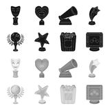 A gold prize in the form of a star, a gold globe and other prizes.Movie awards set collection icons in black,monochrome. Style vector symbol stock illustration Stock Photo