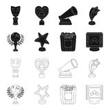 A gold prize in the form of a star, a gold globe and other prizes.Movie awards set collection icons in black,outline. Style vector symbol stock illustration Stock Photography
