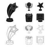 A gold prize in the form of a star, a gold globe and other prizes.Movie awards set collection icons in black,outline. Style vector symbol stock illustration Stock Photo