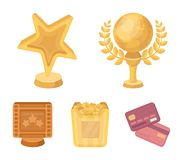 A gold prize in the form of a star, a gold globe and other prizes.Movie awards set collection icons in cartoon style. Vector symbol stock illustration Stock Photo
