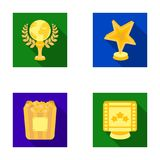 A gold prize in the form of a star, a gold globe and other prizes.Movie awards set collection icons in flat style vector Royalty Free Stock Photo