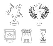 A gold prize in the form of a star, a gold globe and other prizes.Movie awards set collection icons in outline style. Vector symbol stock illustration Stock Photo