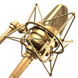 Gold professional microphone Stock Photos