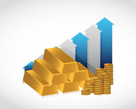 Gold profits up graph concept illustration Royalty Free Stock Images