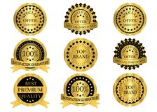 Gold Promotion Badges Stock Images