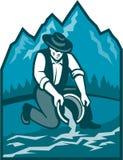 Gold Prospector Miner Pan Retro royalty free illustration