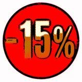 Gold 15 Prozent-Zeichen auf Rot stock abbildung