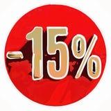 Gold 15 Prozent-Zeichen auf Rot vektor abbildung