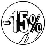 Gold 15 Prozent-Zeichen auf Rot lizenzfreie abbildung